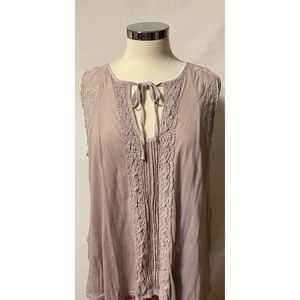 Anthropologie Meadow Rue XL Mauve Embroidered Top